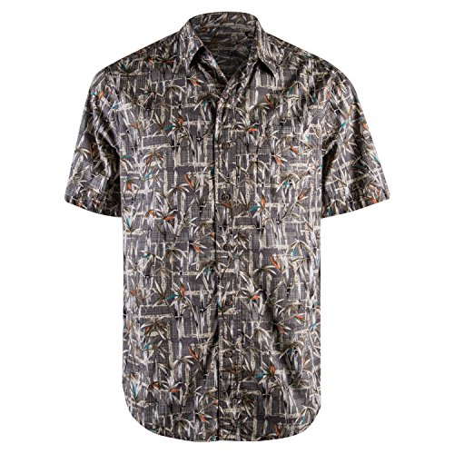 Campia Button Down Tropical Printed Hawaiian Shirts for Men (Olive 17, M) (16 Most Beautiful Trees In The World)