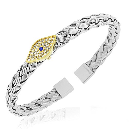 My Daily Styles Stainless Steel Silver-Tone Evil Eye Protection Open End Bangle Bracelet, 7.5
