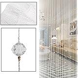 SunAngel 100x200 cm Fashion Decoration Beaded String Curtain Door Divider Crystal Beads Tassel Screen Home Decoration (White)