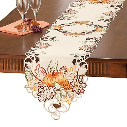 Collections Etc Embroidered Pumpkin Autumn Leaves Scalloped Edge Table Linens, Runner (Autumn Table Linens)