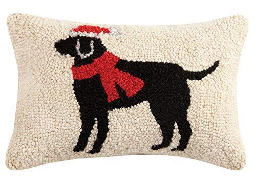 ハンドメイド ウール100% ウール フック 冬 クリスマス サンタ ブラック ラボ 犬 装飾 スキー キャビン ロッジ スローピロー 18インチ x 18インチ。   B00OYEEWMK