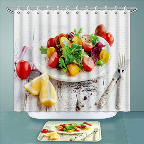 Custom Shower Curtains and Bath Rugs Set Fresh Salad with Cherry Tomatoes Spinach Arugula Romaine and Lettuce in A Plate On White Wooden Bath Curtains and Doormats Suit for Bathroom ()