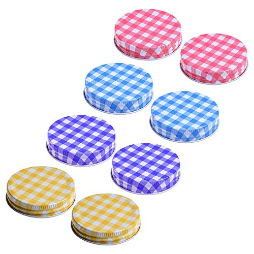 COSMOS 4 Different Colors Decorative Mason Jars Lids for Mason Jars Canning Drinking Jars, Pack of 8 Pcs