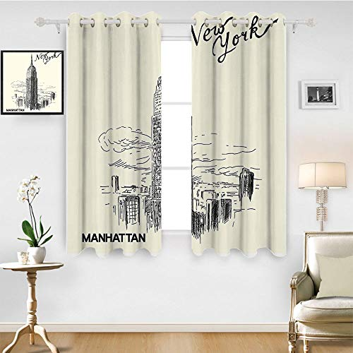 SATVSHOP Patterned Drape for Glass Door - 84W x 72L Inch-Waterproof Window Curtain.New York Urban Architecture Theme Skyscrapers in Manhattan Illustration Black Egg Shell.