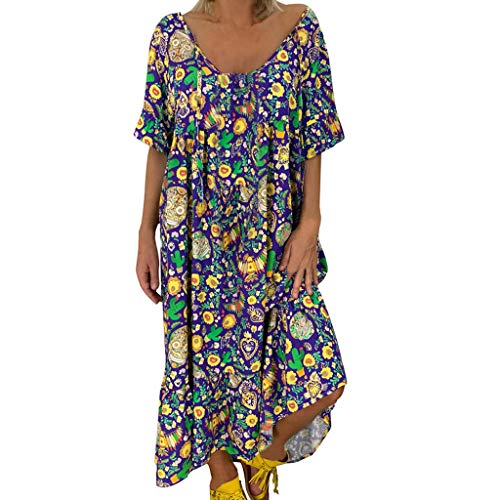 aihihe Plus Size Dresses for Women Casual Summer Floral Print Boho Short Sleeve Scoop Neck Long Beach Dress(Blue,XXXXXL)
