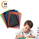 Reusable Dry Erase Pocket Sleeves - 10 x 13 Inches Clear Write and Wipe Easy-Load Plastic Sheet Protectors in Assorted Colors for The Classroom/Home/Work,Organization and Teaching Supplies, 10-Pack