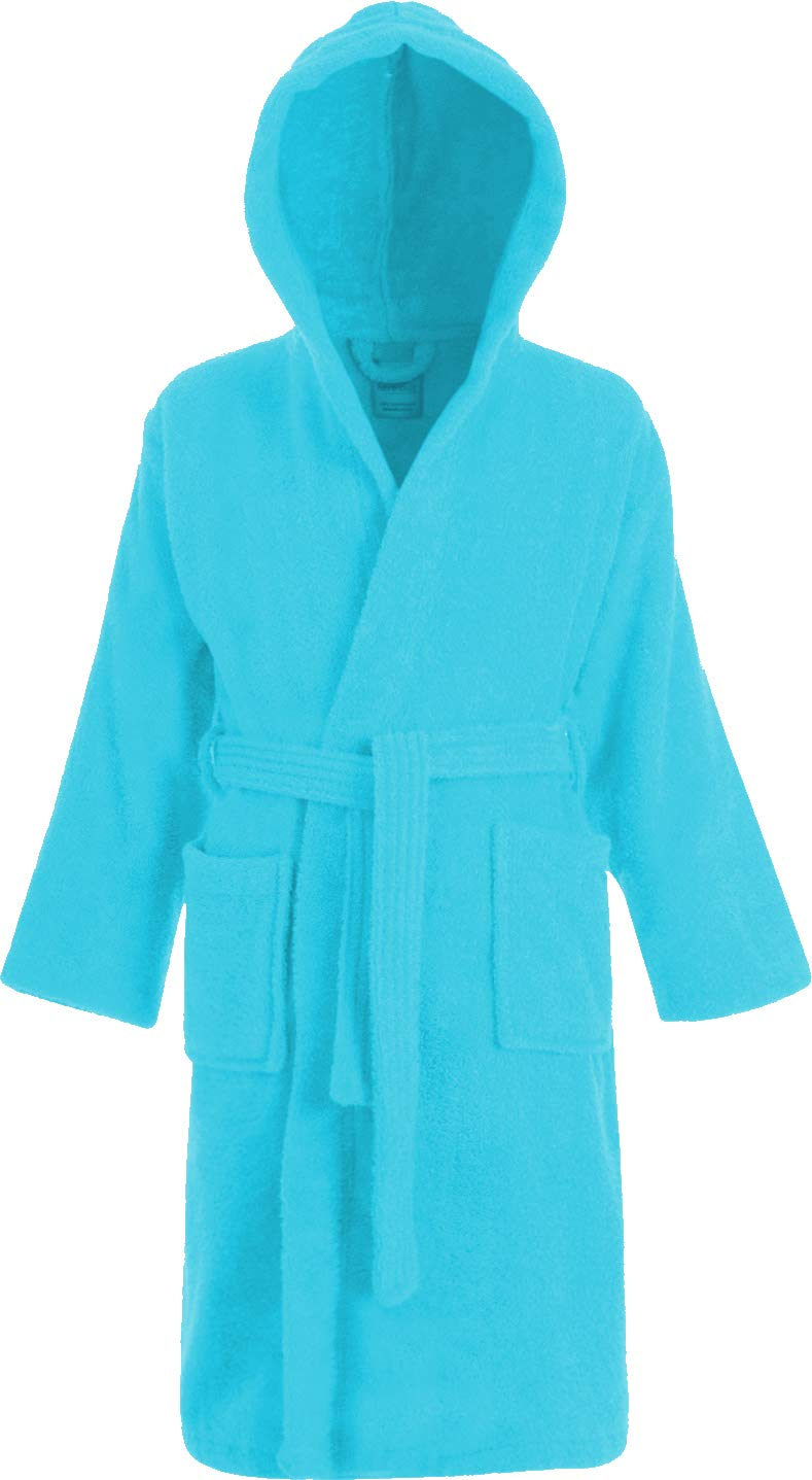 Kids 100/% Cotton Bathrobe Hooded White Terry Towelling Shawl Collar Bath Robe Dressing Gown Ages 2-13