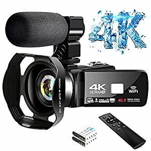 Flashandfocus.com 51sK5t-INdS._SS300_ 4K Video Camera Ultra HD Camcorder 48.0MP IR Night Vision Digital Camera WiFi Vlogging Camera with External Microphone…