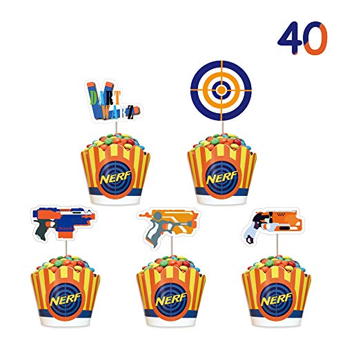 Target Cake Decorations (Cupcake Toppers for Nerf Cupcake Topper Wrappers Set Cake Decorations for)