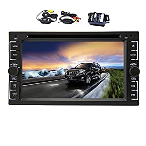 Wince 8 UI 2 Din 6.2 Inch Touch Screen Car DVD Player GPS Navigation Car Stereo Radio In Dash Headunit Support Sat Nav Radio Steering Wheel Control Bluetooth USB SD with Wireless Rear Camera