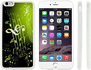 Rikki KnightTM Olive Green Music Notes Sheet Design iPhone 6 Plus Case Cover (Clear Rubber with raised front bumper protection) for Apple iPhone 6 Plus by mcsharks