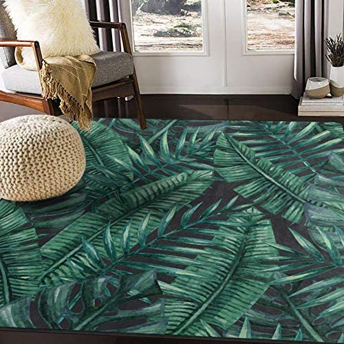 ALAZA Watercolor Tropical Palm Tree Leaves Area Rug Rug