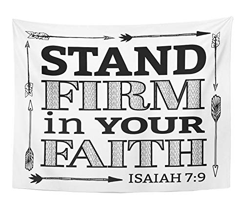 Emvency Tapestry Stand Firm in Your Faith Christian Bible Scripture with Arrow Border From Wall Hanging Polyester Fabric For Bedroom Living Bedspread Room Dorm Decorations 60x80 Inches by Emvency