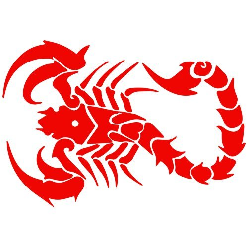 (Set of 3 - Scorpion Decal Sticker Color: red, Peel and Stick Vinyl Sticker)