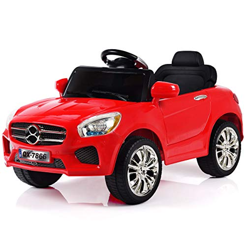 Costzon Kids Ride On Car, 6V Battery Powered Rechargeable Ride On Vehicle, Parental Remote Control & Foot Pedal Manual Modes w/LED Headlights, Horn, MP3 Functions, High/Low Speed (Red)