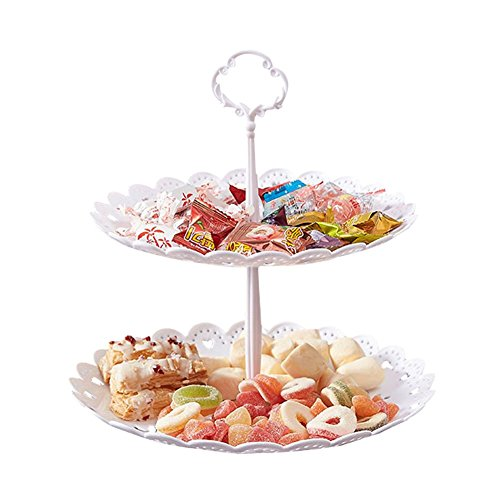 2-Tier Cake Stand Fruit Plate Cupcake Plastic Stand White for Cakes Desserts Fruits Candy Buffet Stand for Wedding Home Decor Birthday Party (Round)