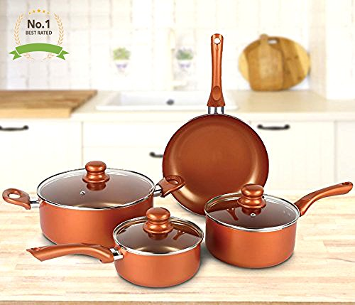 #1 Copper Cookware Set 7-piece Nonstick Ceramic Coating PTFE PFOA Free Aluminum Pots and Pan Set
