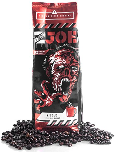 Dark Roast Whole Coffee Beans: Zombie Joe Z Bold Double Caffeine Specialty Coffee - Extra Caffeinated, Robust, Premium Dark Roast - 1lb Bag