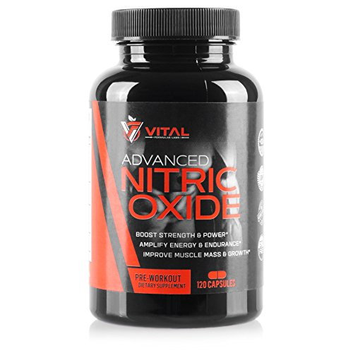 Advanced Nitric Oxide Booster with L Arginine: Recovery Supplement, Premium Muscle Growth, Natural Amino Acids Preworkout Pump and Booster Ornithine and Glutamine (120 Caps)