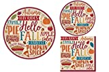 Fall Party Supply Pack! Autumn Theme Bundle Includes Paper Plates & Napkins for 8 Guests in a''Hello Fall'' Design