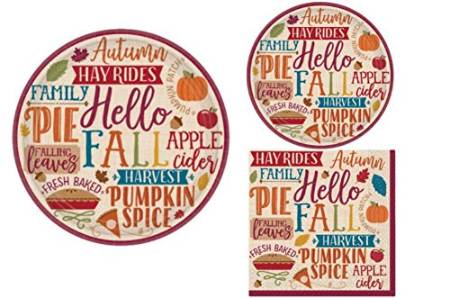 Fall Party Supply Pack! Autumn Theme Bundle Includes Paper Plates & Napkins for 8 Guests in a