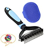 SGONE Pet Grooming Kit - 2 Sided Undercoat Dematting Rate 17 Teeth for Dogs & Cats and Grooming Brush for Poodle, Long-Haired Pet (Blue)