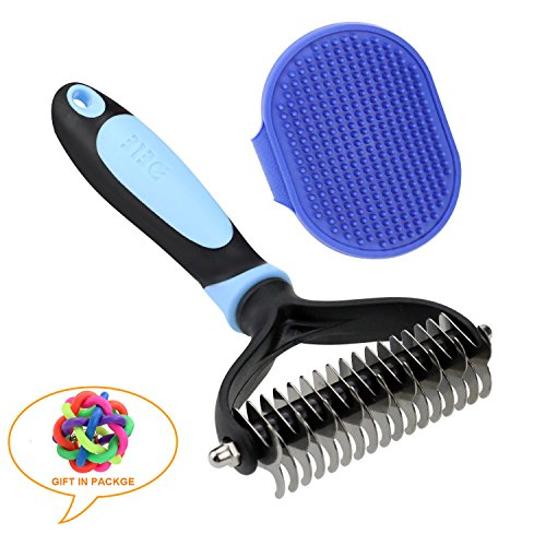 SGONE Pet Grooming Kit - 2 Sided Undercoat Dematting Rate 17 Teeth for Dogs & Cats and Grooming Brush for Poodle, Long-Haired Pet (Blue) by SGONE