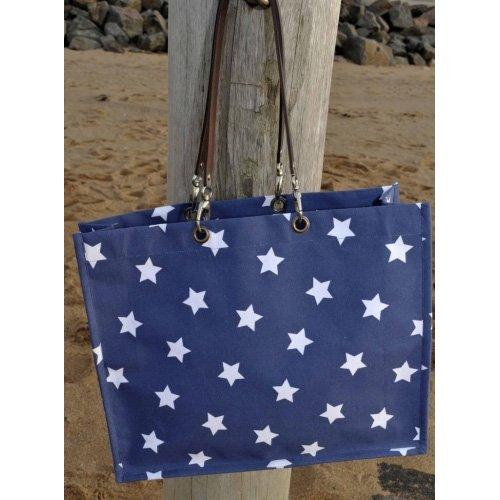 Artefina Tasche Strandtasche mit Sternen weiß - blau UOy3HZyjNQ