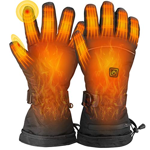 LERSGO Electric Heated Gloves,2020 Newest Waterproof,Winter Warm Glove for Cycling Hiking Hunting Ski Snowboarding,Motorcycle,Hand Warmer for Men and Women L