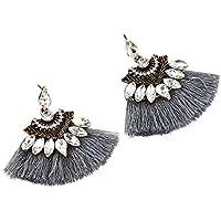 ERAWAN Fashion Crystal Rhinestone Tassel Drop Dangle Ear Stud Earrings Women Jewelry EW sakcharn (Gray)