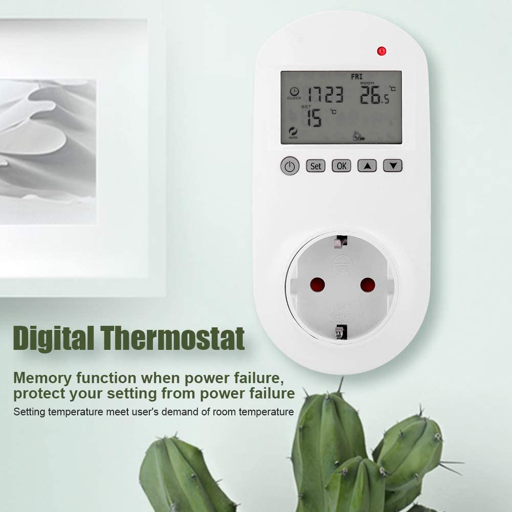 Steckerthermostat Thermostat Digital Wireless Thermostat Steckdose Digitaler Heizungs Thermostat Temperaturregler mit LCD Display