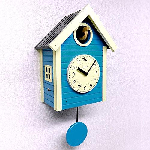 日本製 鳩時計 北欧カラー (ブルー) さんてる 掛け置き兼用時計 B077G98SNY