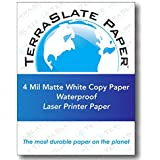 TerraSlate Copy Paper Waterproof Laser Printer, Rain Weatherproof, 4 MIL, 8.5x11-inch, 100 Sheets