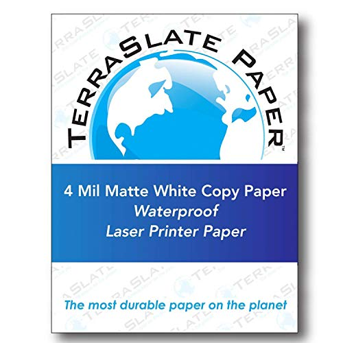 TerraSlate Copy Paper Waterproof Laser Printer, Rain Weatherproof, 4 MIL, 8.5x11-inch, 50 Sheets