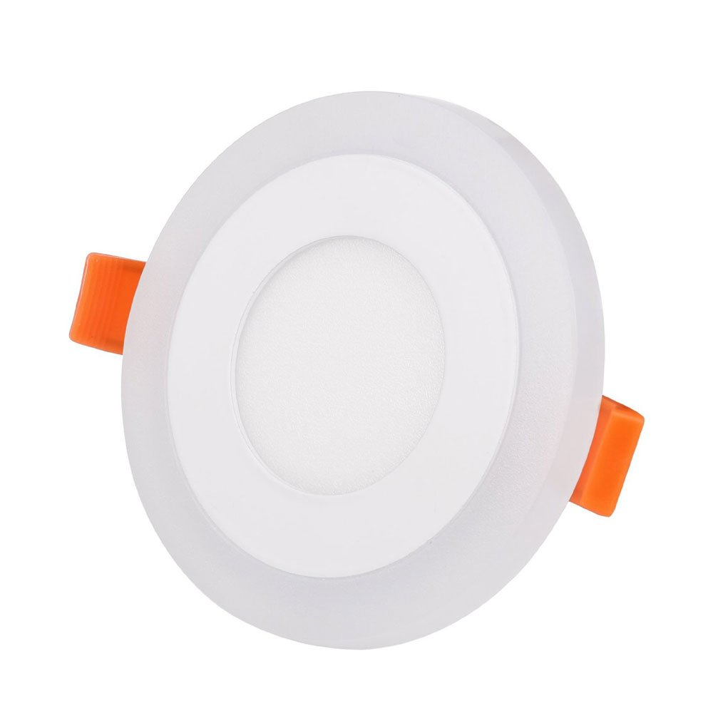 niceEshop(TM) Ultrathin Round Double Color White Blue LED Downlight Retrofit Recessed Lighting Fixture (6+3)W Cut Hole:4.1'',3000-6000K with Led Driver,LED Ceiling Light(Cool White)