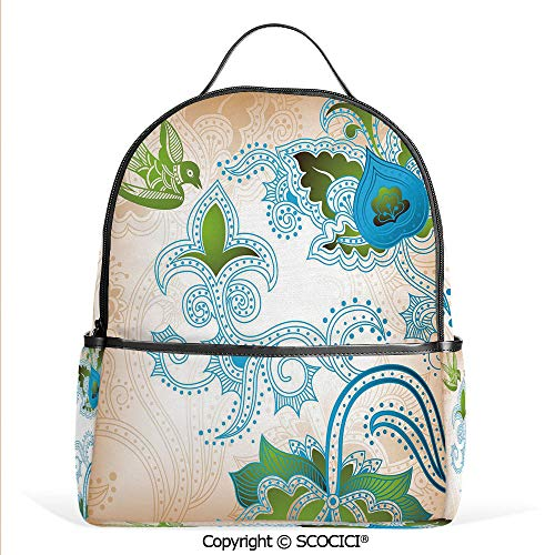 (All Over Printed Backpack Floral Eastern Nature with Bird Leaf Paisley Arabesque Inspired Pattern Decorative,Blue Olive Green Peach,For Girls Cute Elementary School Bookbags)