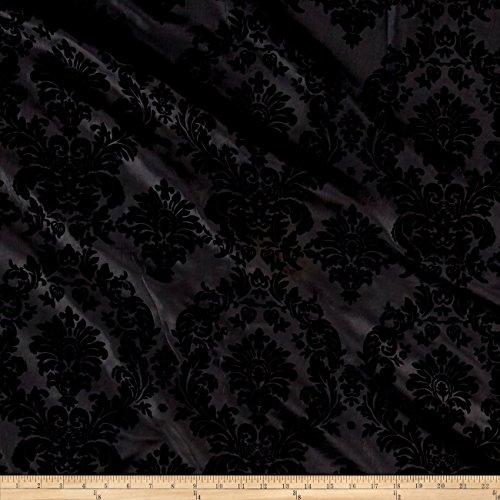 Ben Textiles Flocked Damask Taffetta - Fabric Gray Damask
