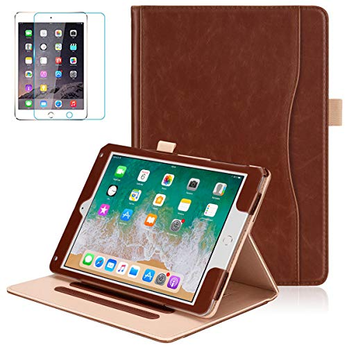 iPad 9.7 2018 2017 / Air 1/2 Case - Soweiek Leather Folio Protective Stand Smart Cover Auto Wake/Sleep with Hand Strap,Pencil Holder and Screen Protector for iPad 5th/6th Generation, Brown (Apple Ipad Air 1 Leather Case)
