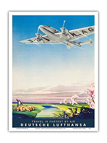 Pacifica Island Art Germany - Travel is Fastest By Air - Deutsche Lufthansa German Airways - Vintage Airline Travel Poster by Kurt Wendt c.1937 - Master Art Print - 9in x 12in - German Vintage Poster