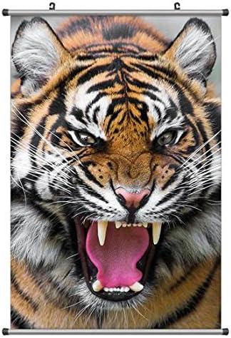 凶暴な虎 動物の写真ポスター掛け軸(70cmx105cm)
