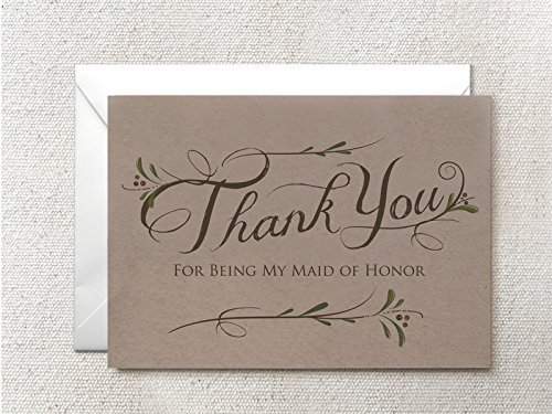 5 Pack - Bridesmaid Thank You Cards (4), Maid of Honor Thank You Card (1) - Assortment Pack of 5 - Kraft Cards Includes White Envelopes