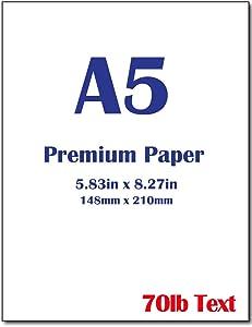 "Premium A5 (8.3""x 5.83"") Printer Paper - 70lb Text / 28lb Bond (105 gsm) Bright White Paper (250 Sheets)"