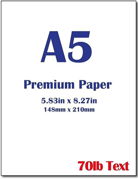 Amazon.com: Papel para impresora Premium A5 (8.3 x 5.83 ...