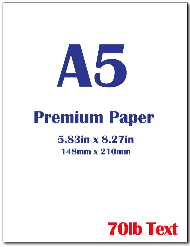 Premium A5 (8.3''x 5.83'') Printer Paper - 70lb Text / 28lb Bond (105 gsm) Bright White Paper (250 Sheets)