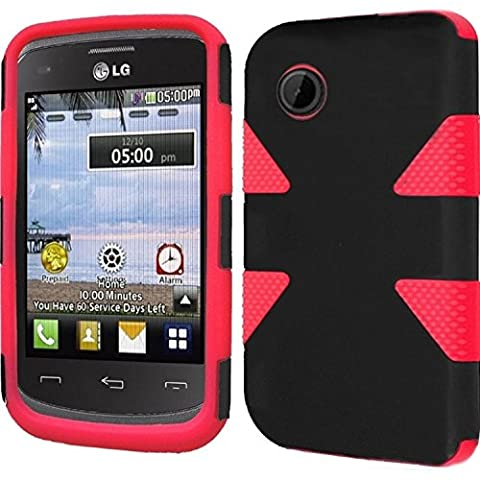 HR Wireless LG 306G - Dynamic Cover - Retail Packaging - Black/Red (Zte Warp Sync Rubber Phone Case)