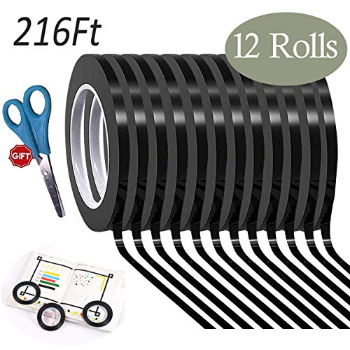 Hsxfl 12 Pack Graphic Art Tape Adhesive Artist Tape 1/8 Inch Wide X 216 Ft Long, Whiteboards Chart PET Thin Tape (Black) ()
