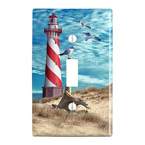 GRAPHICS & MORE Lighthouse Seashore Ocean Beach Seagulls Sailboat Plastic Wall Decor Toggle Light Switch Plate Cover