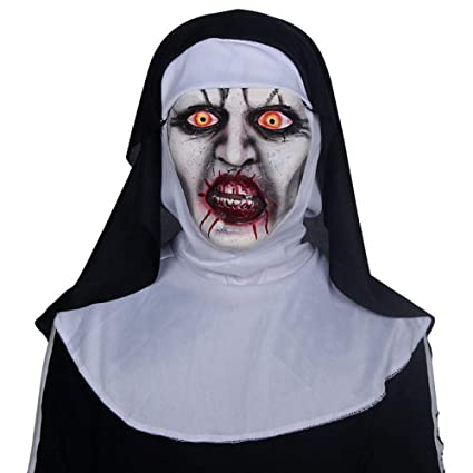 Ting Ting Nun Terror Máscara Fantasma Muerto Máscara De Látex De Halloween Campana Vestido De Fiesta