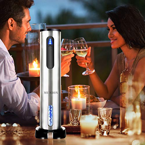 Electric Wine Bottle Opener Automatic Rechargeable Cordless Wine Corkscrew with Charger, Wine Vacuum Stopper, Wine Pourer and Foil Cutter by MUNION (Image #3)