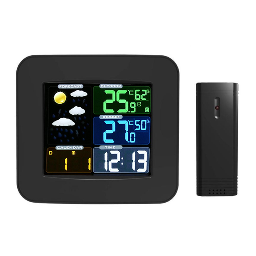 Weather Station, Wireless Digital Weather Forecast Station Alarm Clock Color Screen Indoor/Outdoor Wireless Sensor Forecast Temperature Humidity Date Display Alarm Clock